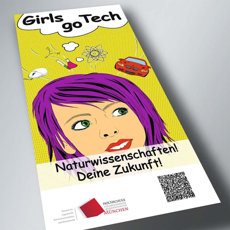 Girs go tech Flyer für die Hochschule München