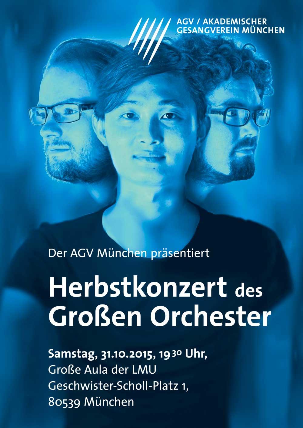 Plakatdesign für Akademischer Gesangsverein München Trtiplekonzert Poster