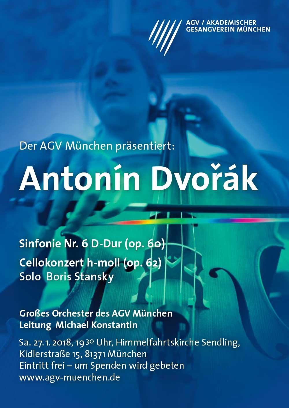 Plakatdesign für Akademischer Gesangsverein München Antonin Dvorak Poster