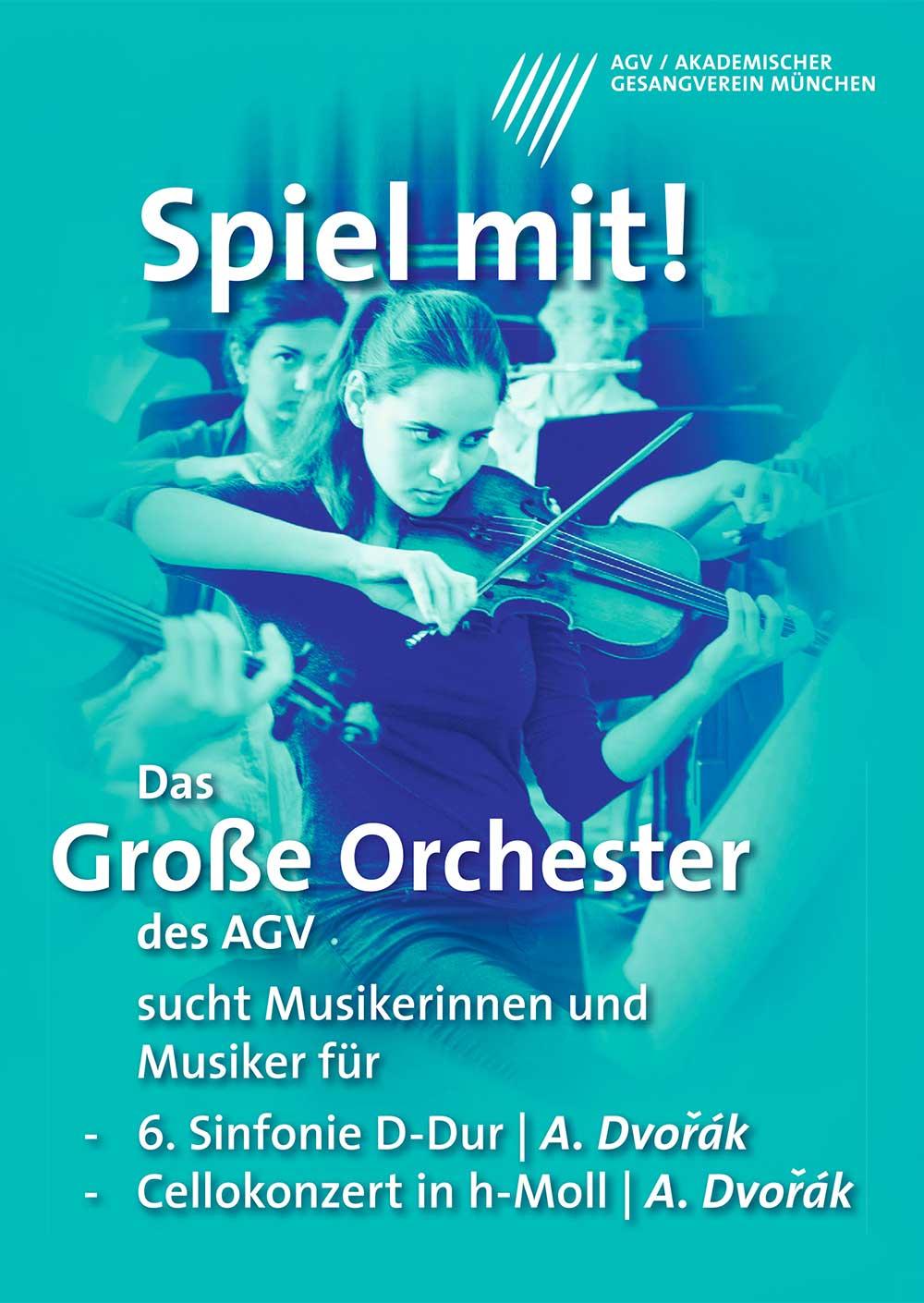 Akademischer Gesangsverein München Orchester Spiel mit Poster