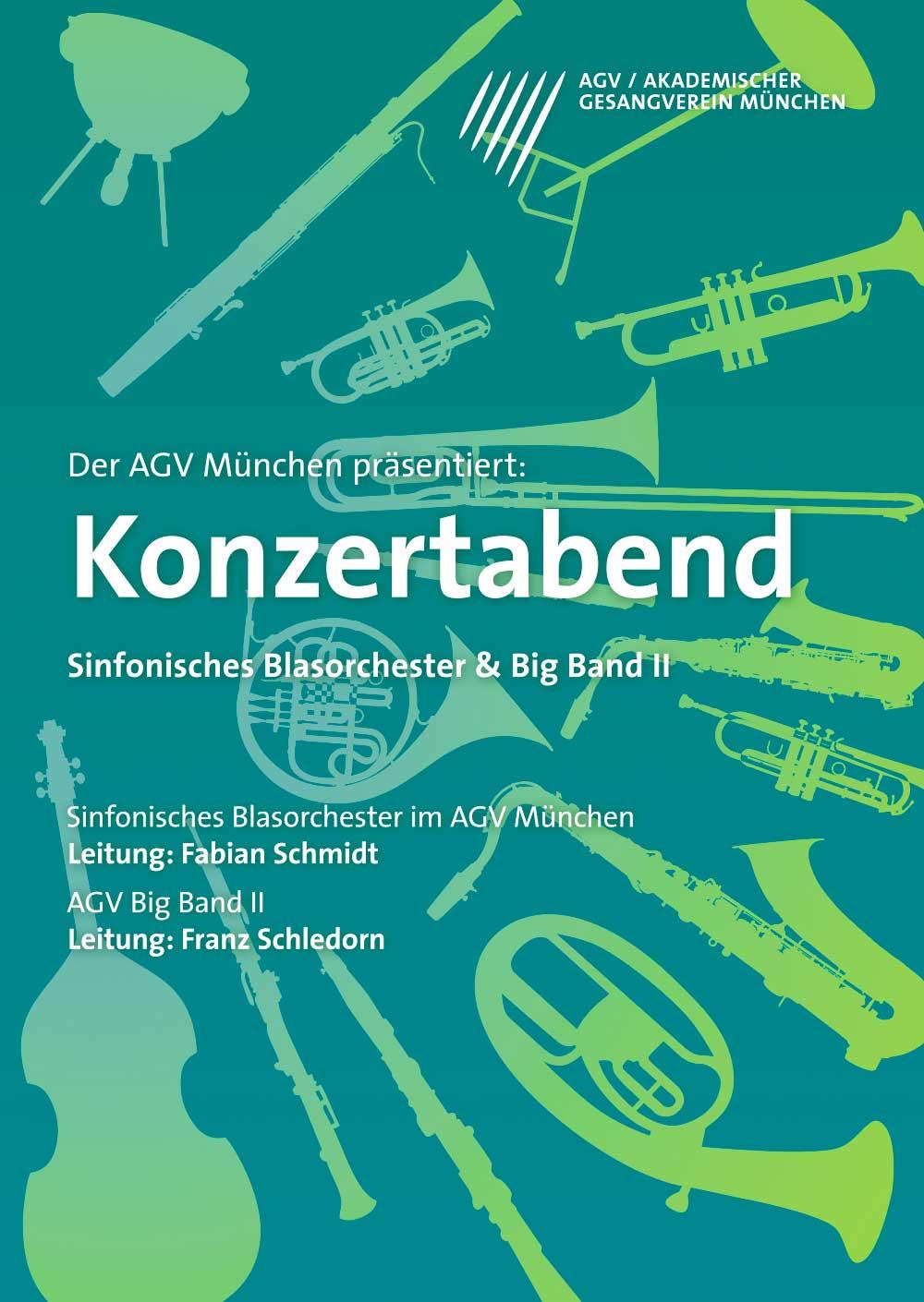Plakatdesign für Akademischer Gesangsverein München Sinfonisches Blasorchester Plakat design
