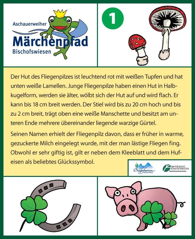 Märchenpfad Bischofswiesen Gestaltungbeispiel Infotafel Fliegenpilz