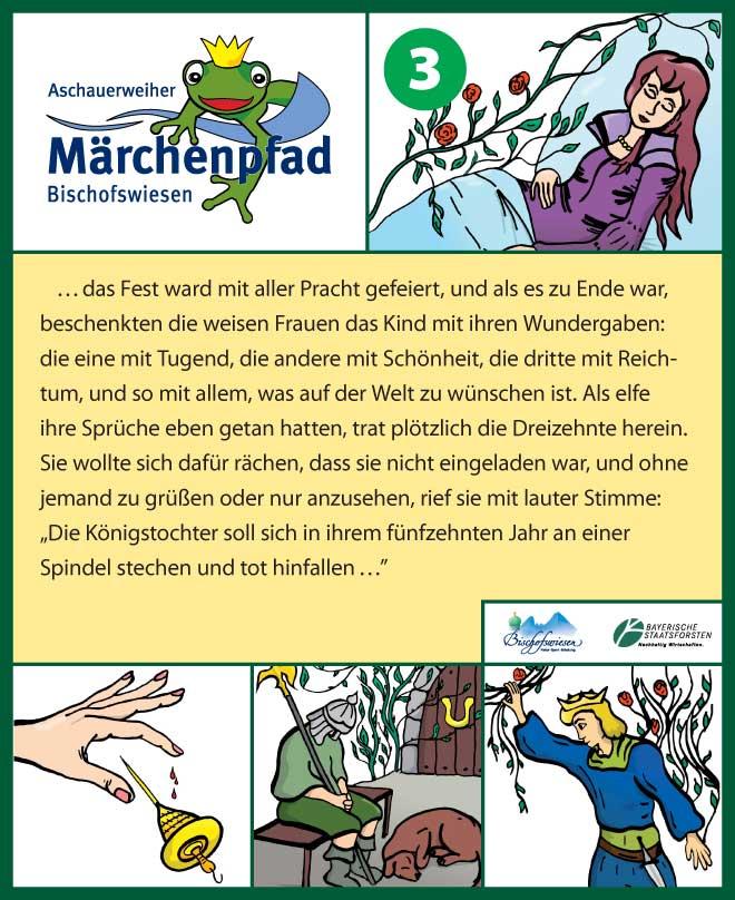 Märchenpfad Bischofswiesen Gestaltungbeispiel Stationstafel Dornröschen