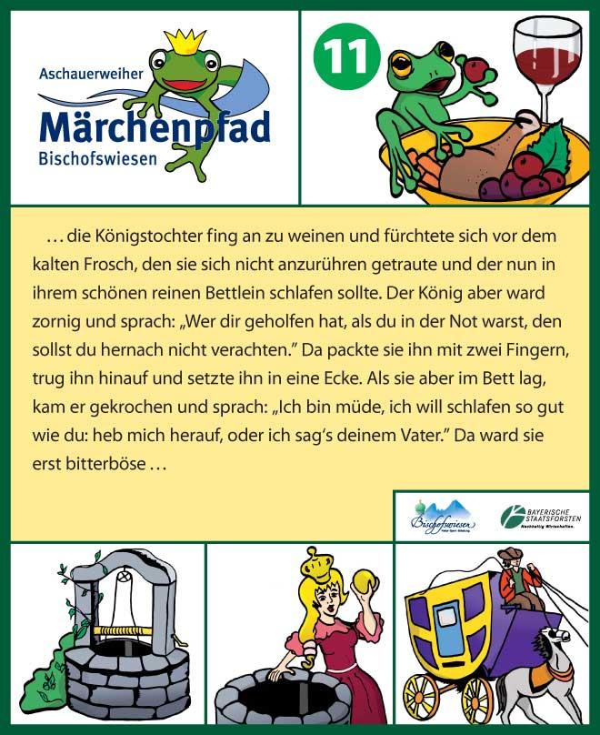 Märchenpfad Bischofswiesen Gestaltungbeispiel Stationstafel Froschkönig