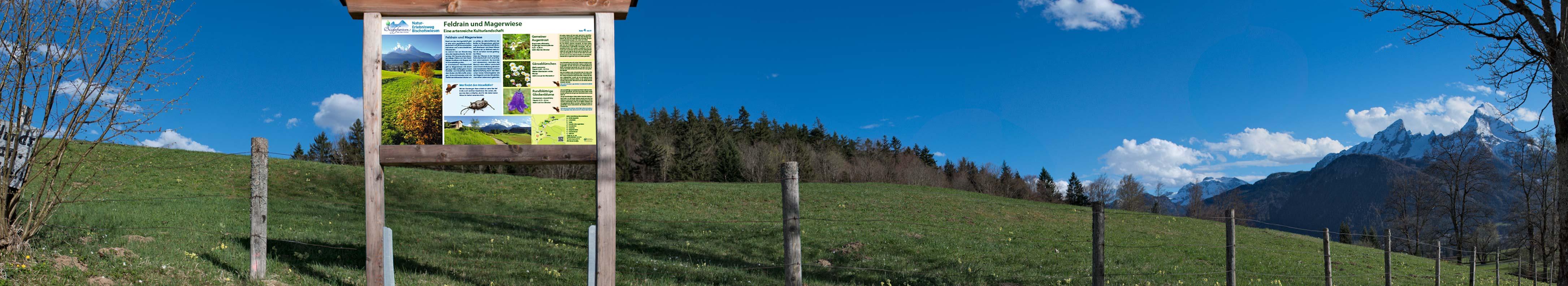 Naturerlebnisweg Bischofswiesen Panorama mit Infotafel von Liedtke & Kern